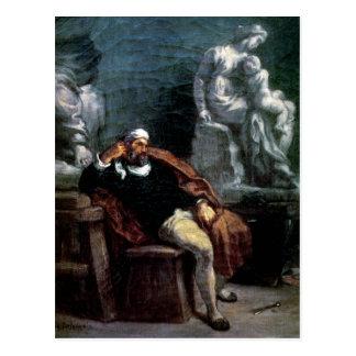 Michelangelo  in his Studio Postcard
