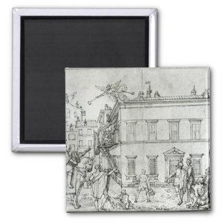 Michelangelo on horseback, visiting an artist magnet