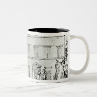 Michelangelo on horseback, visiting an artist Two-Tone coffee mug