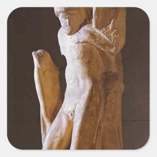 Michelangelo- Pieta Rondanini (unfinished) Square Sticker