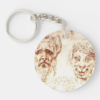 Michelangelo- Studies of Grotesques Acrylic Keychains