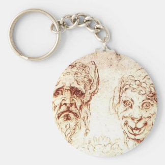 Michelangelo- Studies of Grotesques Keychains