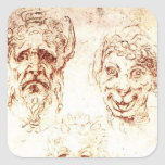 Michelangelo- Studies of Grotesques Square Stickers