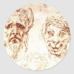 Michelangelo- Studies of Grotesques Sticker