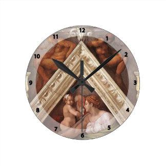 Michelangelo: The Ancestors of Christ: Hezekiah Round Wallclock