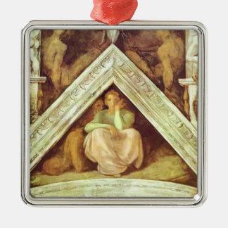 Michelangelo: The Ancestors of Christ: Jesse Square Metal Christmas Ornament