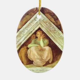 Michelangelo: The Ancestors of Christ: Jesse Double-Sided Oval Ceramic Christmas Ornament