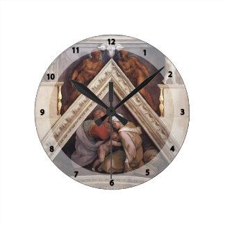 Michelangelo: The Ancestors of Christ: Ozias Round Wall Clocks