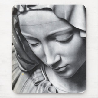 Michelangelo's Pieta detail of Virgin Mary's face Mouse Pad