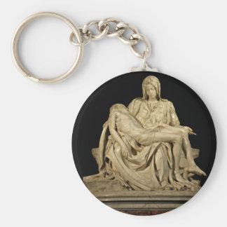 Michelangelo's Pieta Sculpture Basic Round Button Keychain