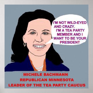 Michele Bachmann Wild-Eyed Cartoon Poster Print