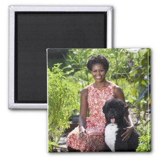 Michele & Bo Obama 2 Inch Square Magnet