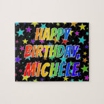 "[ Thumbnail: ""Michele"" First Name, Fun ""Happy Birthday"" Jigsaw Puzzle ]"