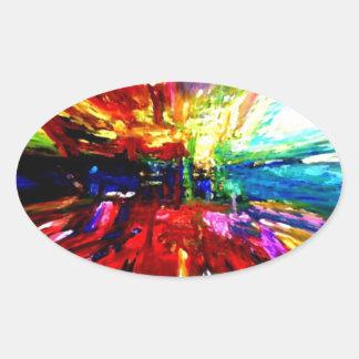 michele's multi colors oval sticker