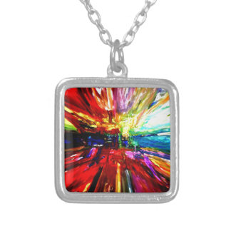 michele's multi colors silver plated necklace