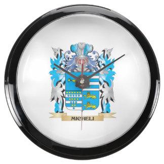 Micheli Coat of Arms - Family Crest Aquarium Clock