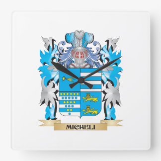 Micheli Coat of Arms - Family Crest Square Wall Clocks