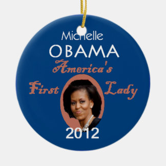 MICHELLE 2012 Double-Sided CERAMIC ROUND CHRISTMAS ORNAMENT