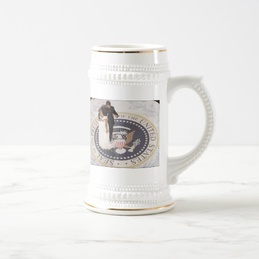 Michelle and Barack Obama 18 Oz Beer Stein