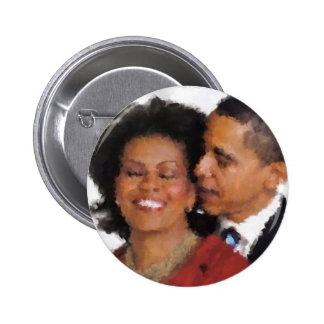 Michelle and Barack Watercolor Button