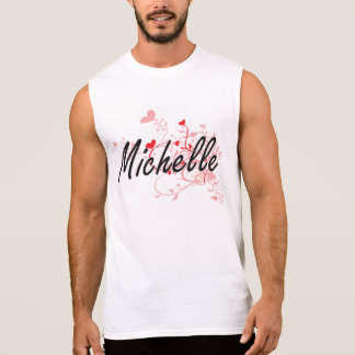 Michelle Artistic Name Design with Hearts Sleeveless Shirt