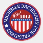 Michelle Bachmann para el presidente 2012 Pegatina Redonda