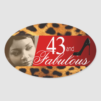 Michelle Leopard Photo Party Wine Oval Oval Sticker