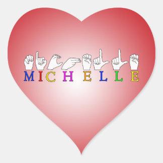 MICHELLE NAME ASL FINGER SPELLED FEMALE SIGN HEART STICKER
