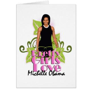 """Michelle O """"amor bonito"""" Notecard de los chicas Tarjeta Pequeña"""