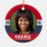 MICHELLE OBAMA 2016 Double-Sided CERAMIC ROUND CHRISTMAS ORNAMENT