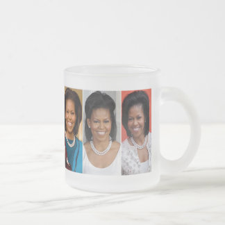 MICHELLE OBAMA COLLECTORS 10 OZ FROSTED GLASS COFFEE MUG