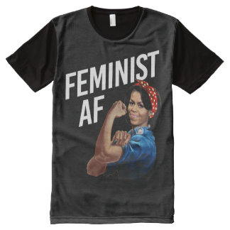 Michelle Obama - Feminist AF - white --  All-Over-Print T-Shirt