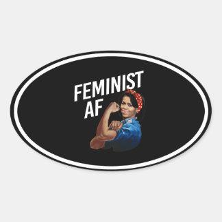 Michelle Obama - Feminist AF - white --  Oval Sticker