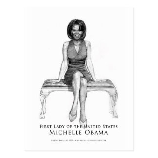 MICHELLE OBAMA_FIRST LADY BLACK & WHITE POST CARD