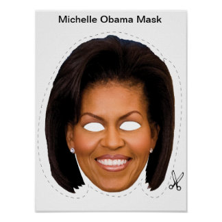 Michelle Obama Halloween Mask Poster
