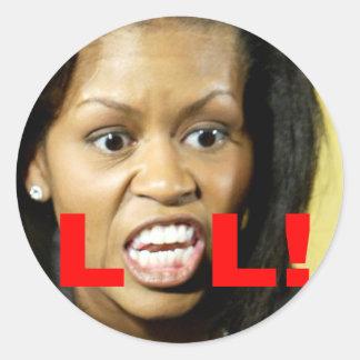 Michelle Obama LOL Classic Round Sticker
