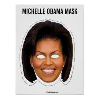 Michelle Obama Mask Cutout Poster