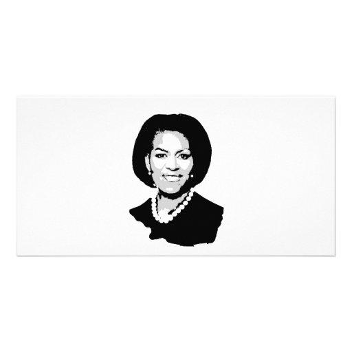 Michelle Obama outline Photo Card