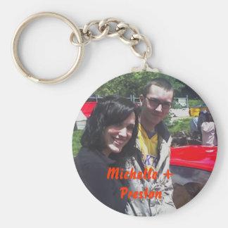 Michelle + Preston Basic Round Button Keychain