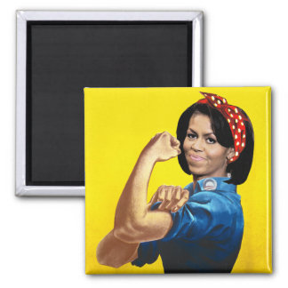 MICHELLE THE RIVETER 2 INCH SQUARE MAGNET