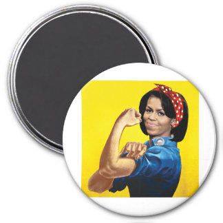 MICHELLE THE RIVETER -.png 3 Inch Round Magnet