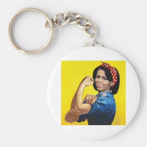 MICHELLE THE RIVETER -.png Basic Round Button Keychain