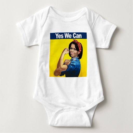 Michelle the riveter yes we baby bodysuit zazzle for Bett yes we can