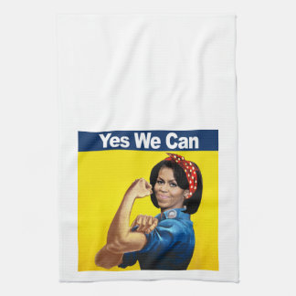 Michelle the Riveter - Yes we can.png Kitchen Towel