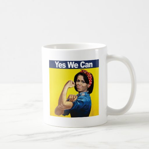 MICHELLE THE RIVETER - YES WE CAN -.png Classic White Coffee Mug