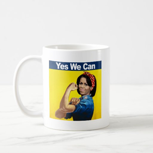 MICHELLE THE RIVETER - YES WE CAN.png Classic White Coffee Mug