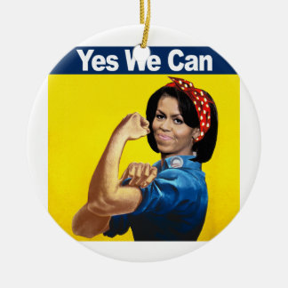MICHELLE THE RIVETER - YES WE CAN.png Double-Sided Ceramic Round Christmas Ornament