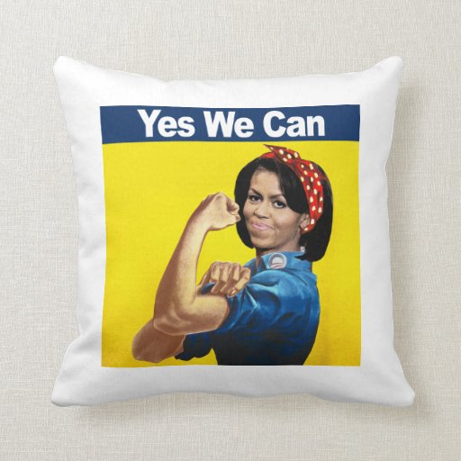 MICHELLE THE RIVETER - YES WE CAN.png Pillow