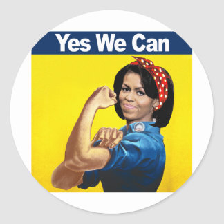 MICHELLE THE RIVETER - YES WE CAN.png Round Sticker