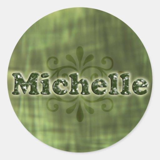Michelle verde pegatina redonda